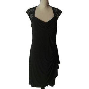 MSK Faux Wrap Around Black Dress